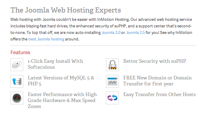 InMotion Joomla Hosting Features