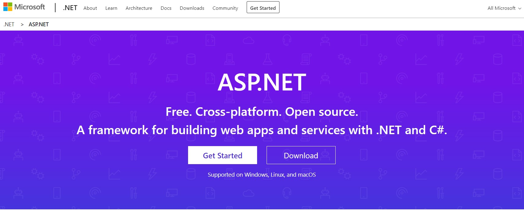 The ASP.net home page