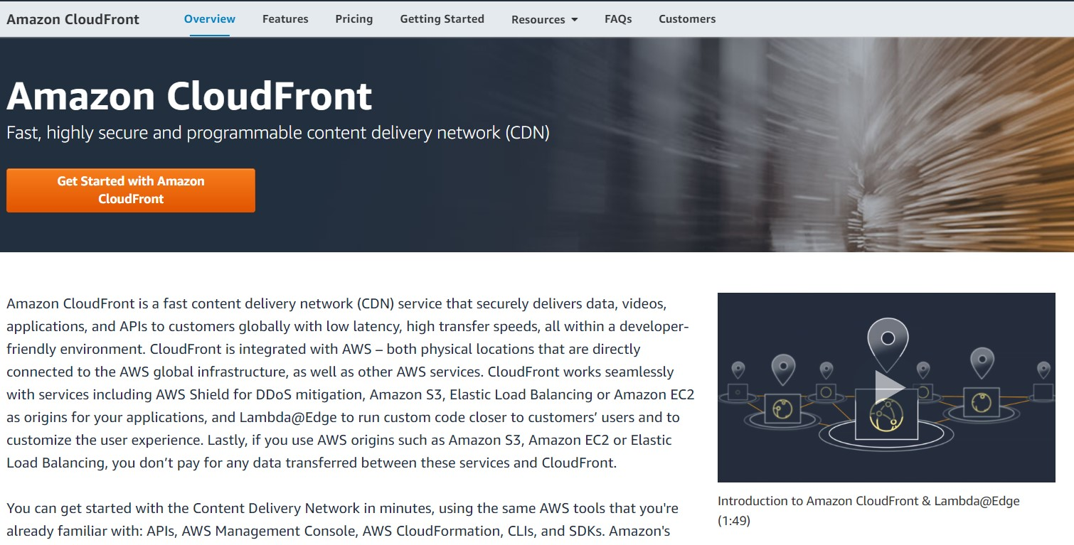 The Amazon Cloudfront web page