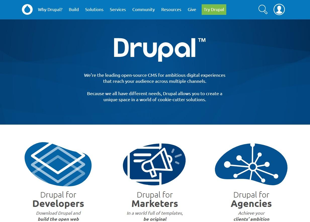 A screenshot of the Drupal homepage