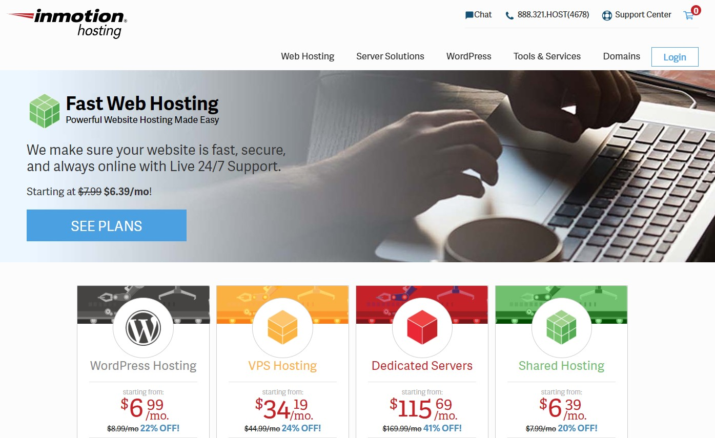 The Inmotion Hosting home page