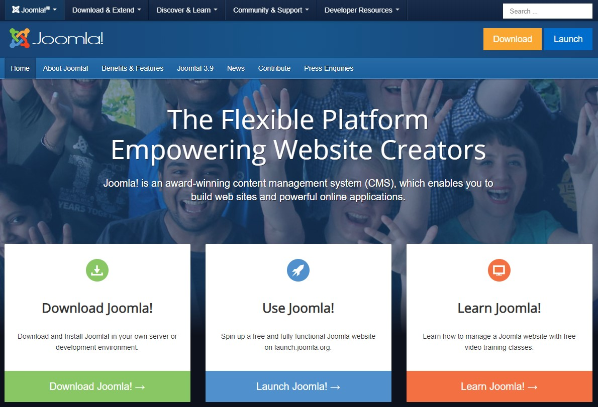 The Joomla homepage