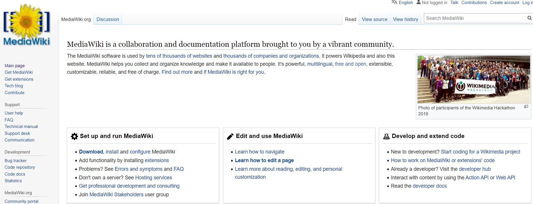 The MediaWiki website