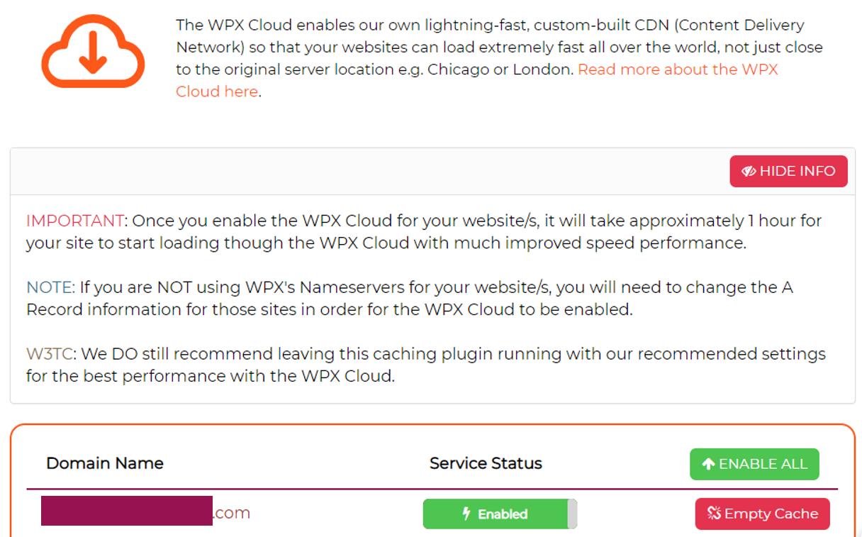 The WPX Cloud CDN dashboard